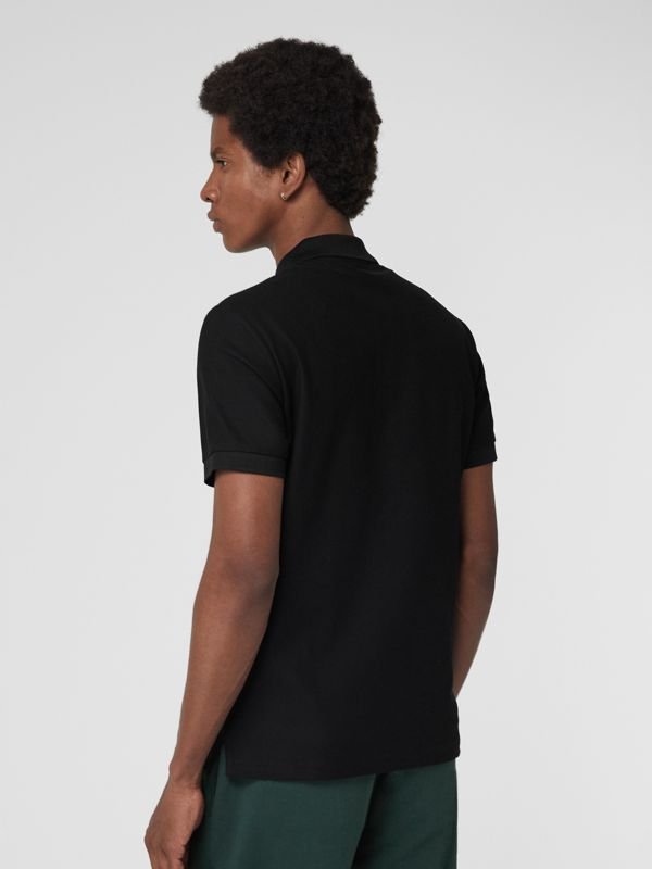 Archive Logo Cotton Piqué Polo Shirt in Black - Men | Burberry Australia - cell image 2