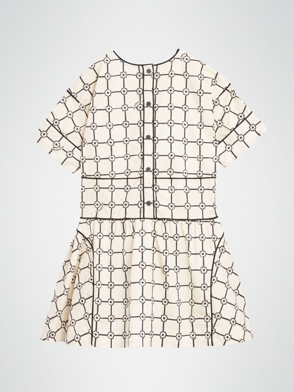 Piping Detail Flower Print Cotton Dress in Stone | Burberry United Kingdom - cell image 3