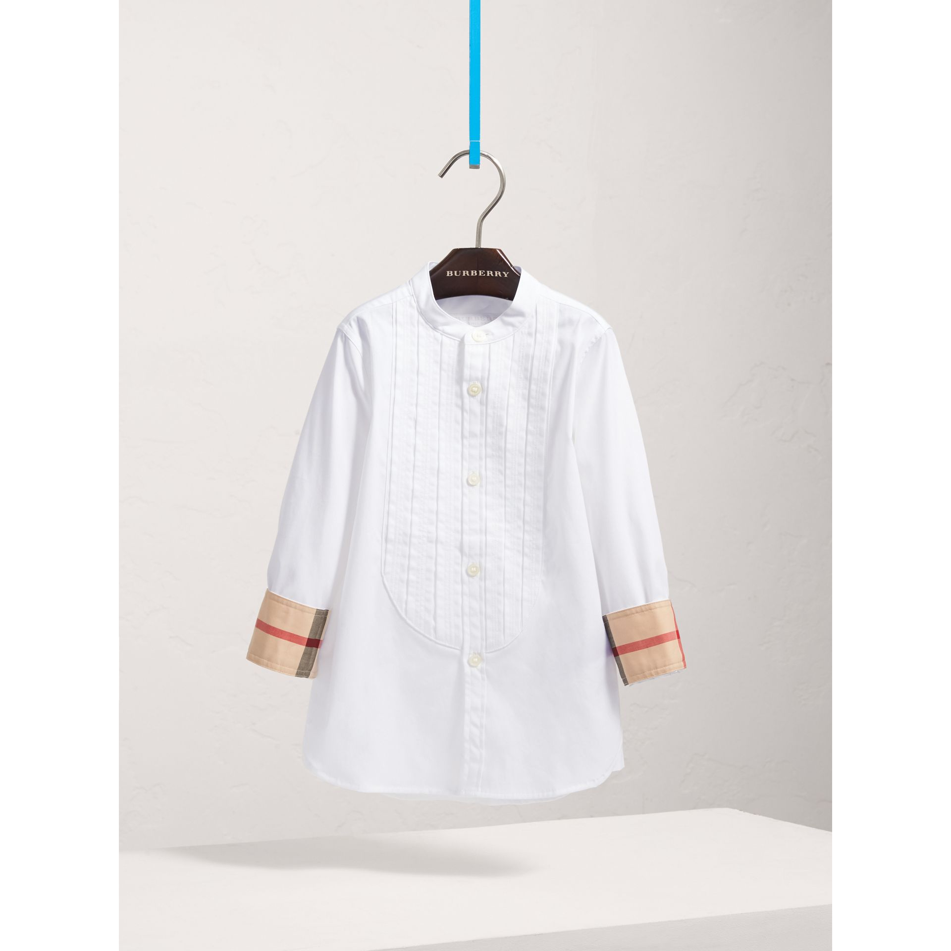 Collarless Cotton Poplin Dress Shirt in White - Boy | Burberry - gallery image 3