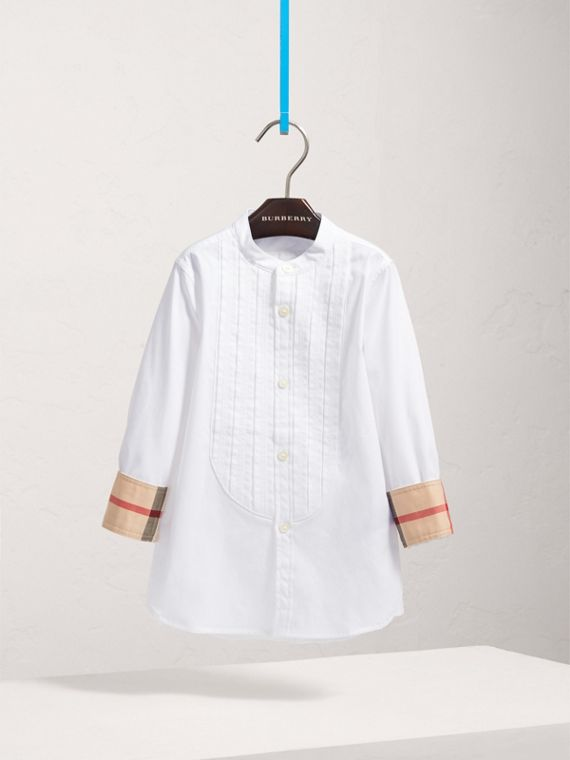 Collarless Cotton Poplin Dress Shirt in White - Boy | Burberry - cell image 2