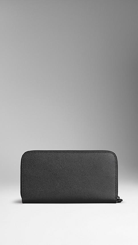 Noir Portefeuille zippé en cuir London - Image 2