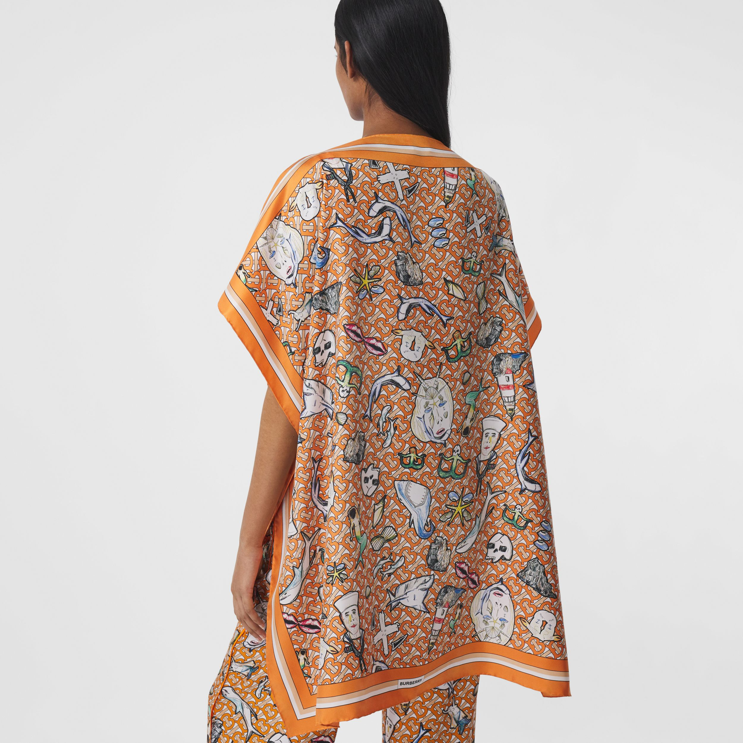 Monogram and Marine Print Silk Twill Cape in Deep Orange - Women | Burberry United States - 3