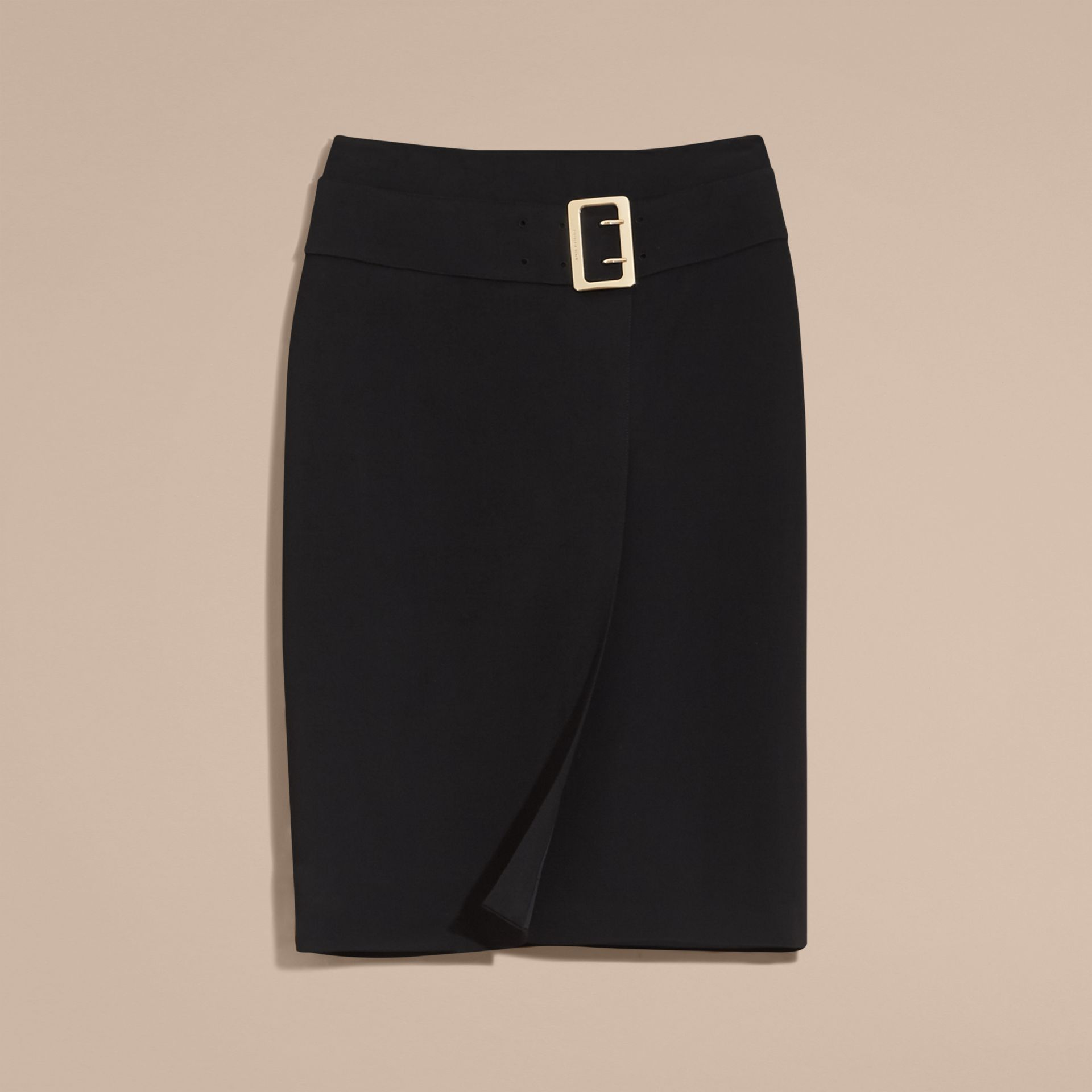 Black Belt Detail Technical Stretch Pencil Skirt - gallery image 4