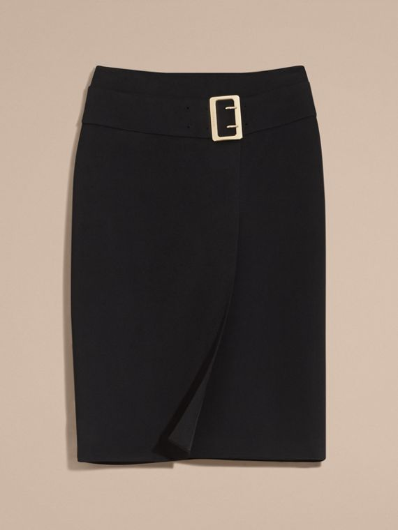 Black Belt Detail Technical Stretch Pencil Skirt - cell image 3
