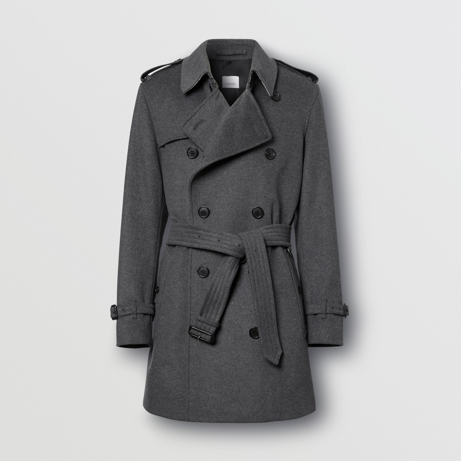Wool Cashmere Trench Coat in Charcoal - Men | Burberry - gallery image 3