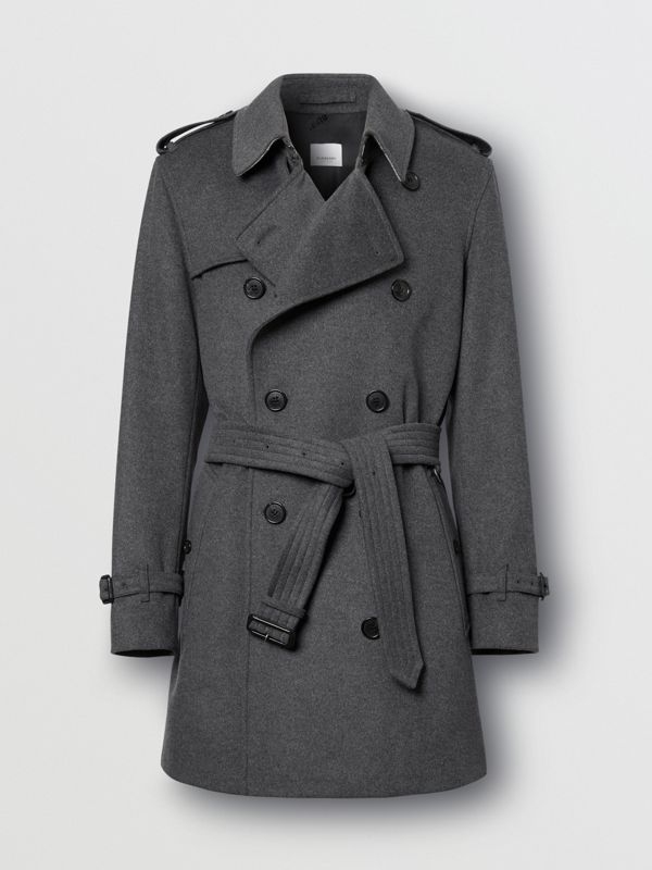 Wool Cashmere Trench Coat in Charcoal - Men | Burberry Hong Kong S.A.R - cell image 3