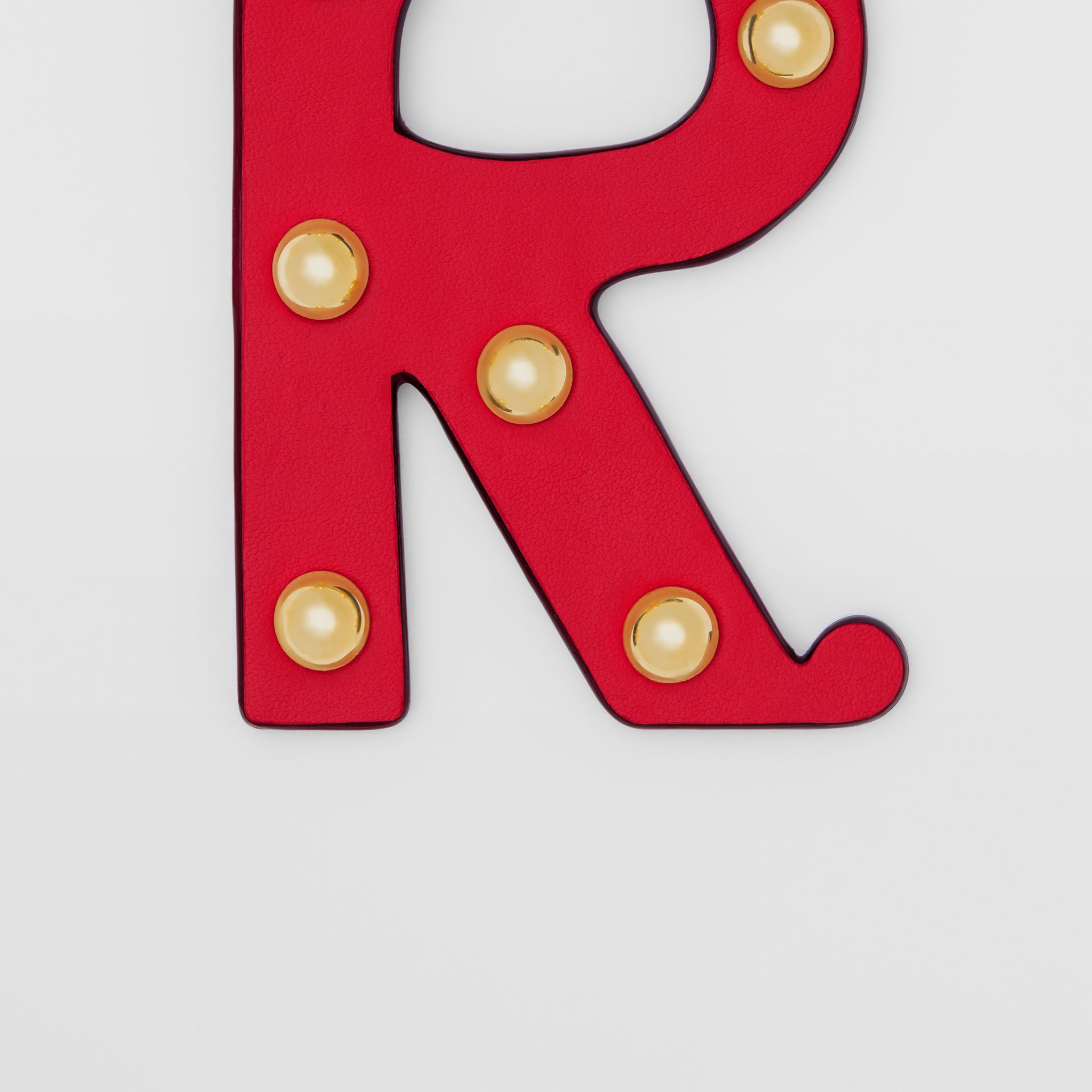 'R' Studded Leather Alphabet Charm in Red/light Gold | Burberry - gallery image 1