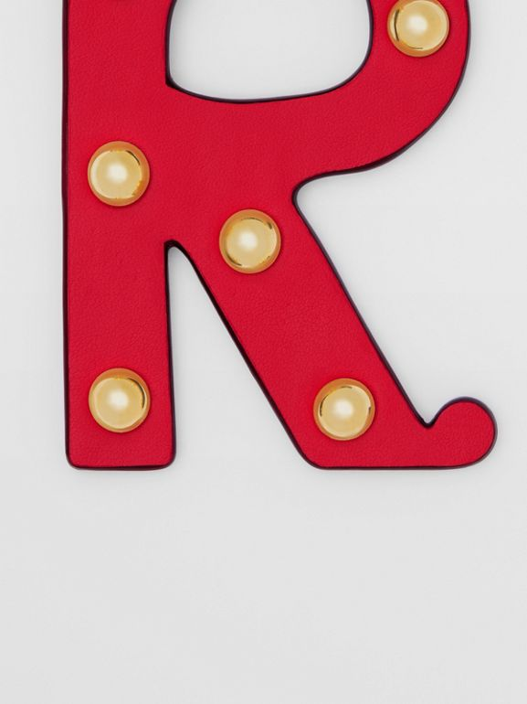 'R' Studded Leather Alphabet Charm in Red/light Gold | Burberry - cell image 1