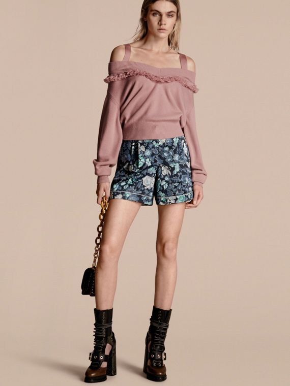 Floral Print Cotton Pyjama-style Shorts