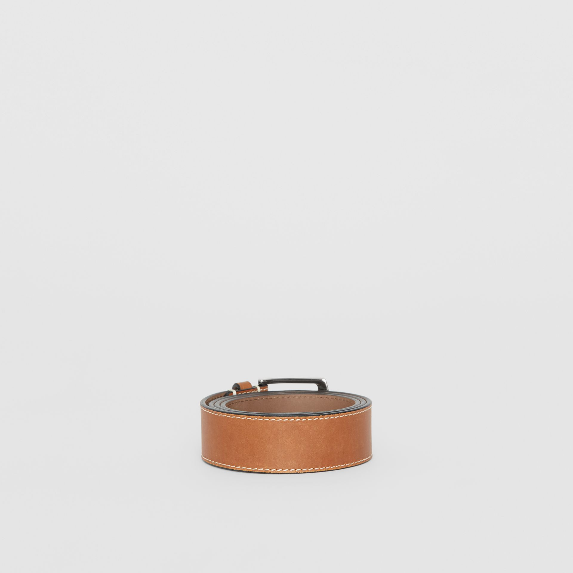 Topstitched Leather Belt in Tan - Men | Burberry United States - gallery image 4