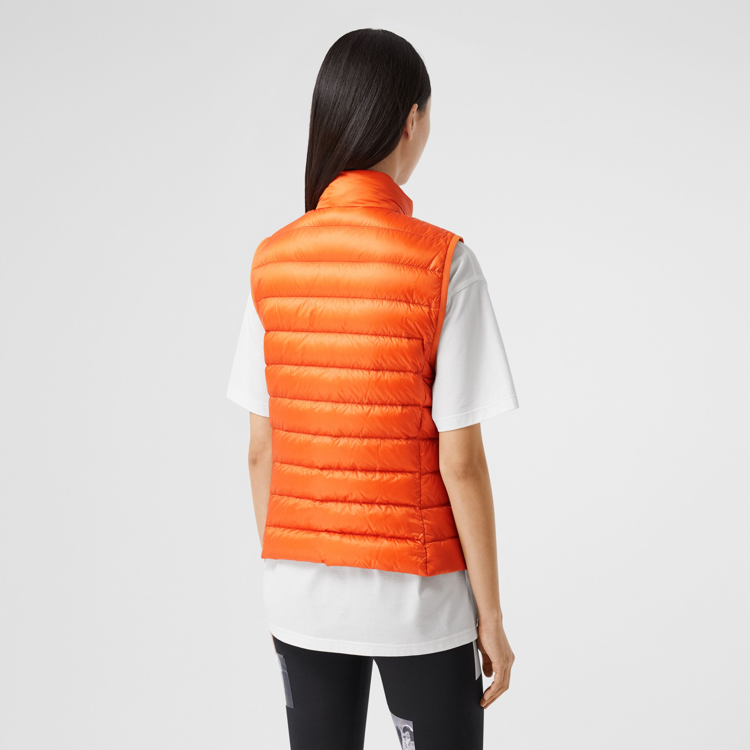 Logo Print Lightweight Puffer Gilet in Bright Orange - Women | Burberry Australia - 3