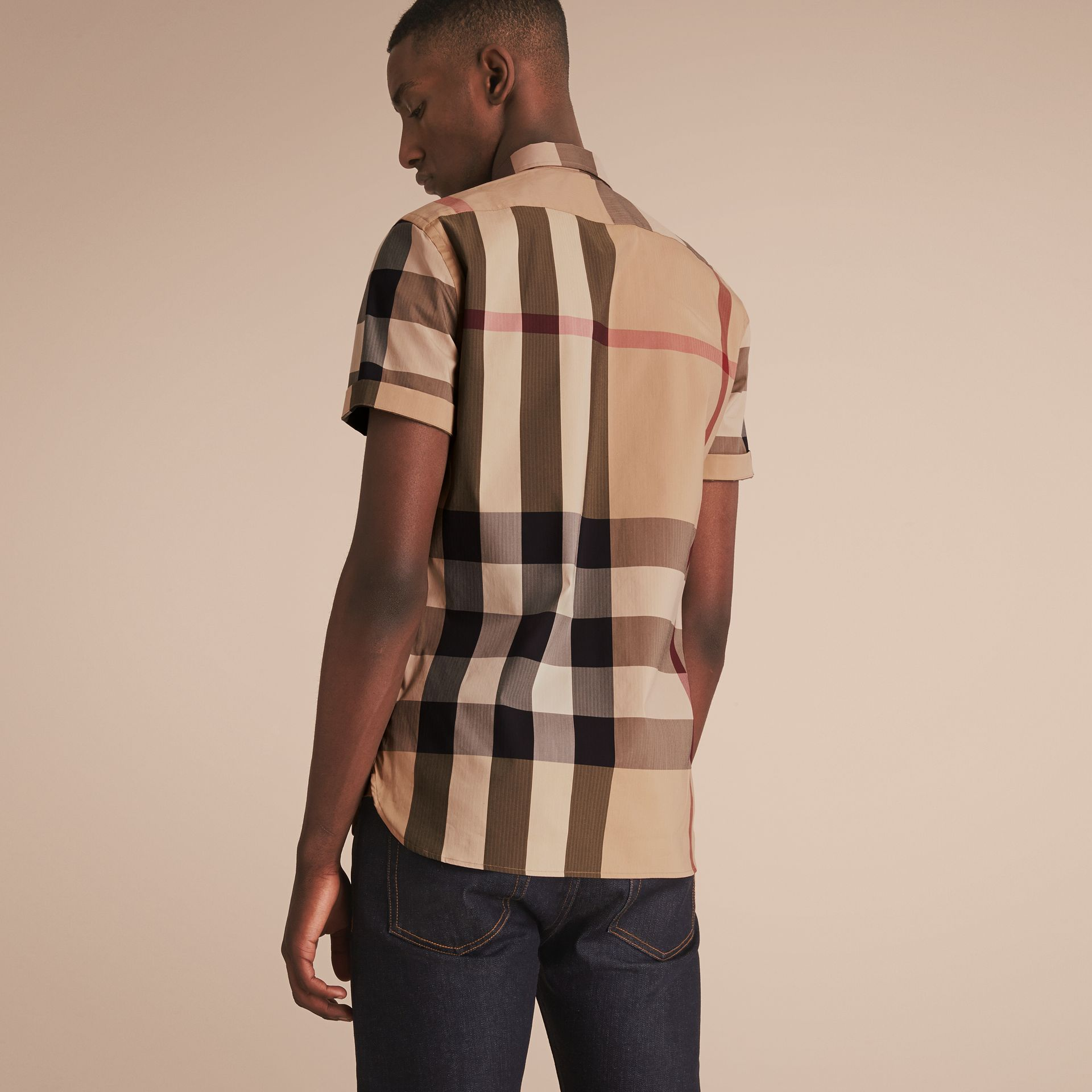 Short-sleeved Check Stretch Cotton Blend Shirt Camel - gallery image 3