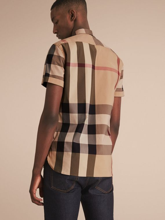 Short-sleeved Check Stretch Cotton Blend Shirt Camel - cell image 2