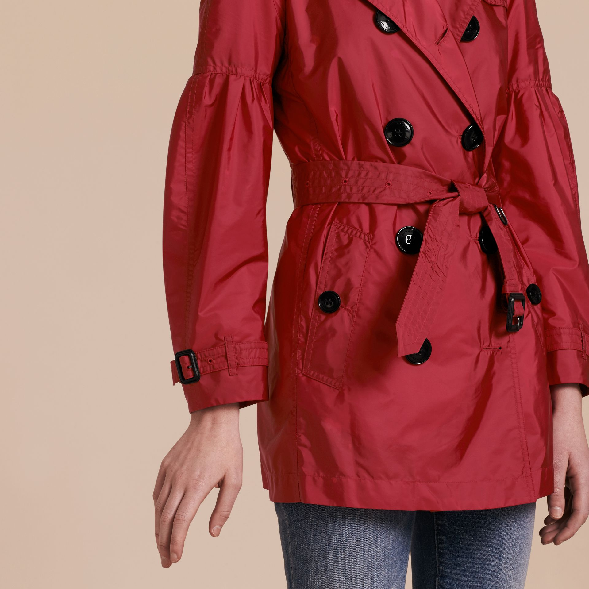 Parade red Packaway Trench Coat with Puff Sleeves - gallery image 5