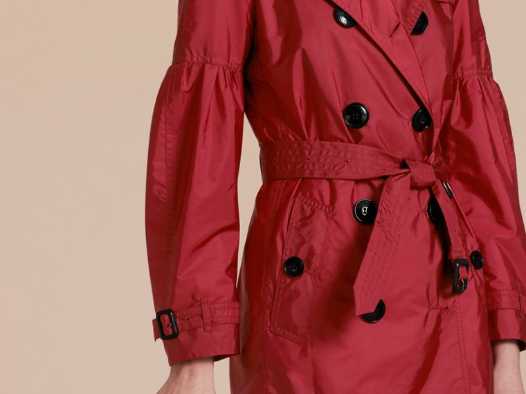 Parade red Packaway Trench Coat with Puff Sleeves - cell image 4