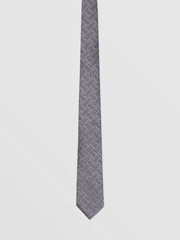 Classic Cut Monogram Silk Blend Jacquard Tie in Charcoal - Men | Burberry Hong Kong S.A.R - cell image 3