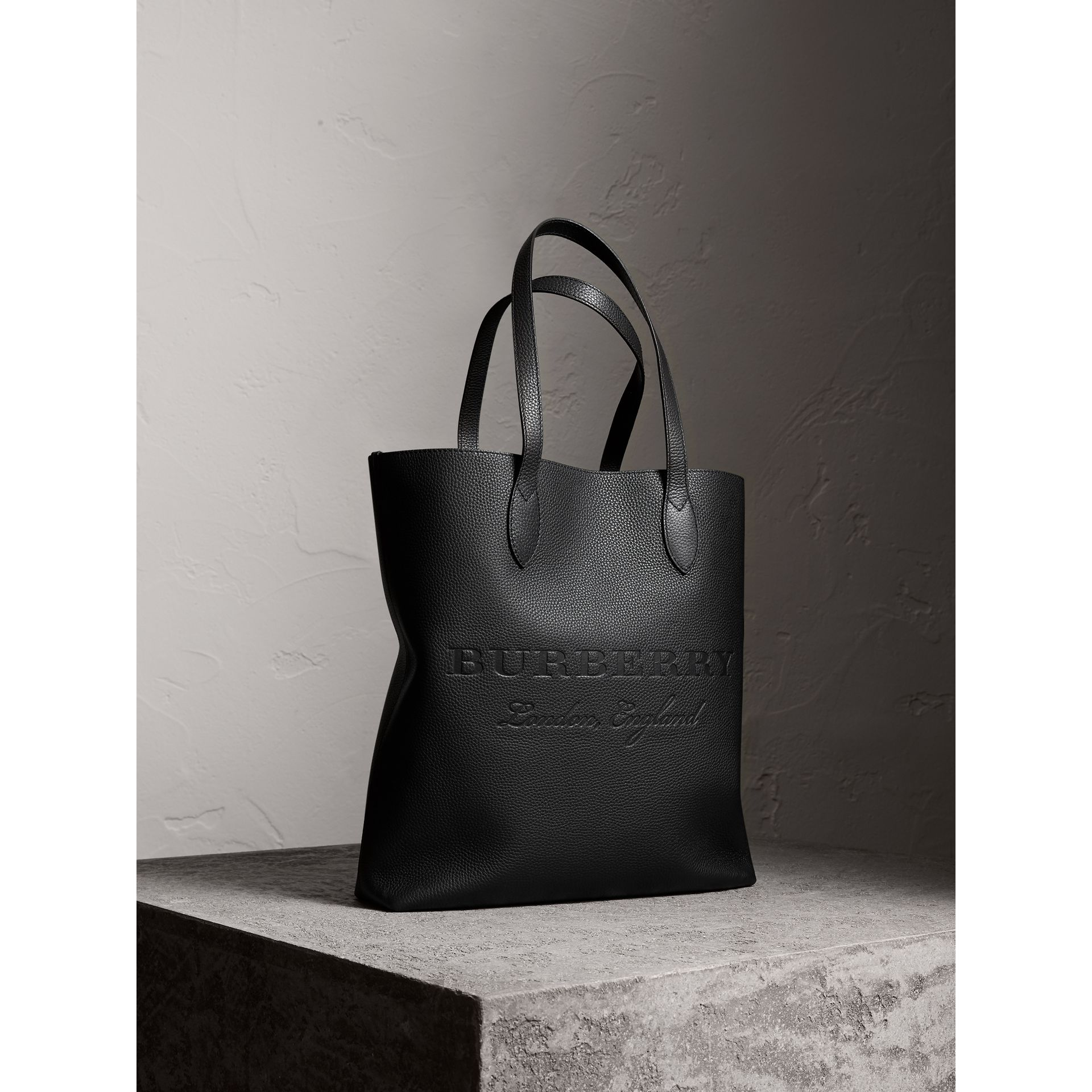 Medium Embossed Leather Tote in Black | Burberry - gallery image 7