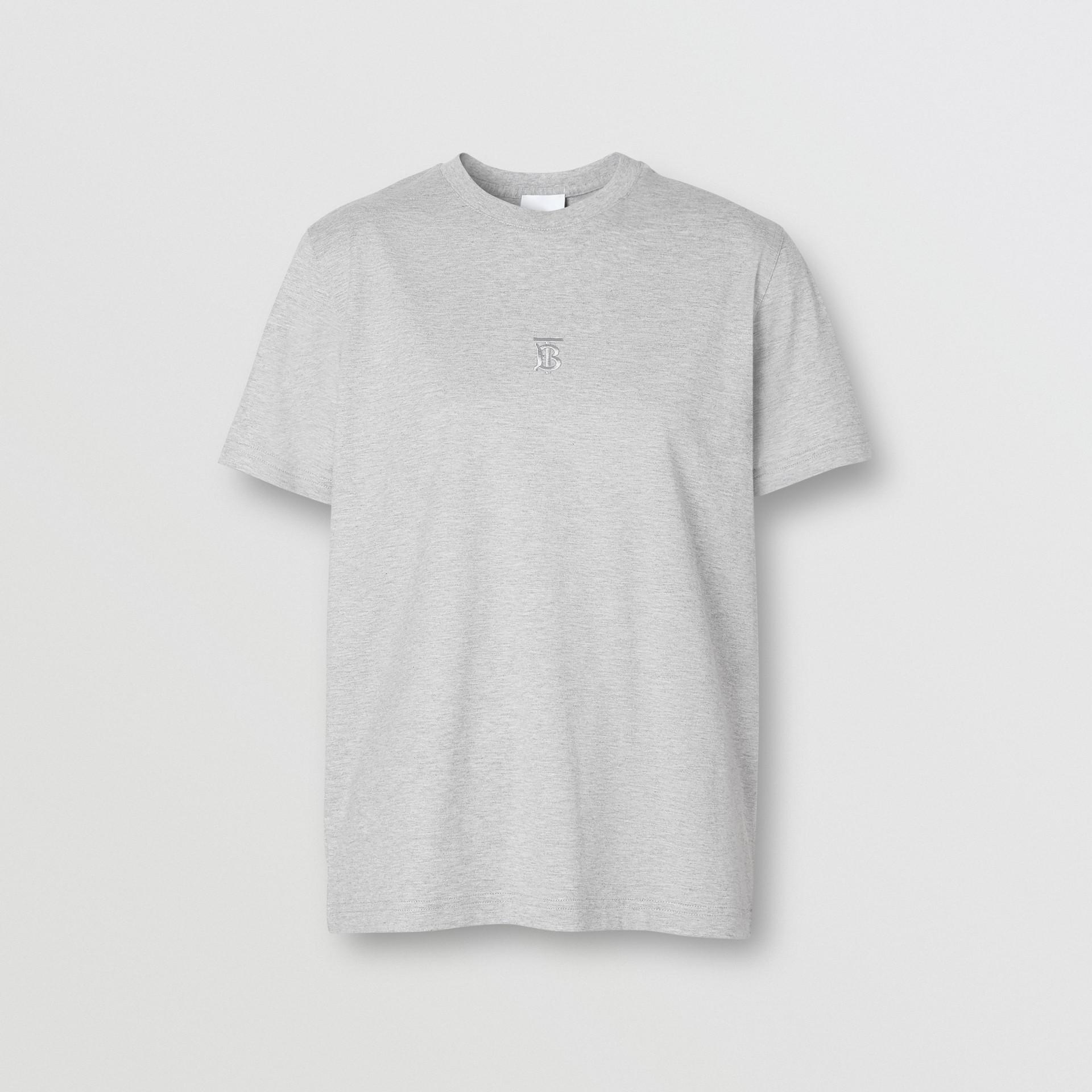 Monogram Motif Cotton T-shirt in Pale Grey Melange - Women | Burberry - gallery image 3