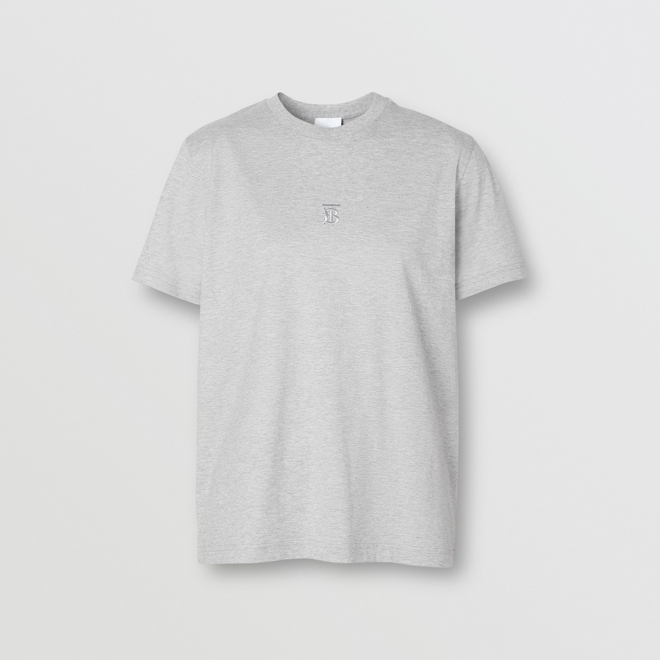 Monogram Motif Cotton T-shirt in Pale Grey Melange - Women | Burberry - 4