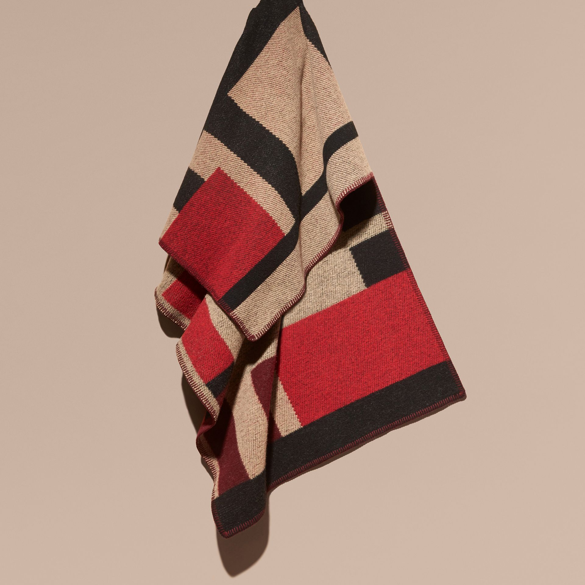 Camel Check Wool Cashmere Poncho - gallery image 2