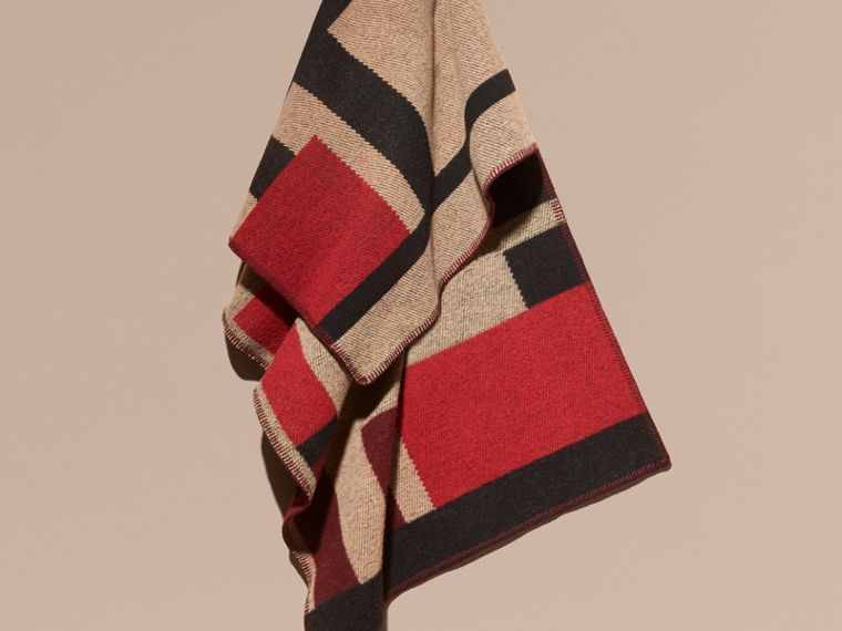Camel Check Wool Cashmere Poncho - cell image 1