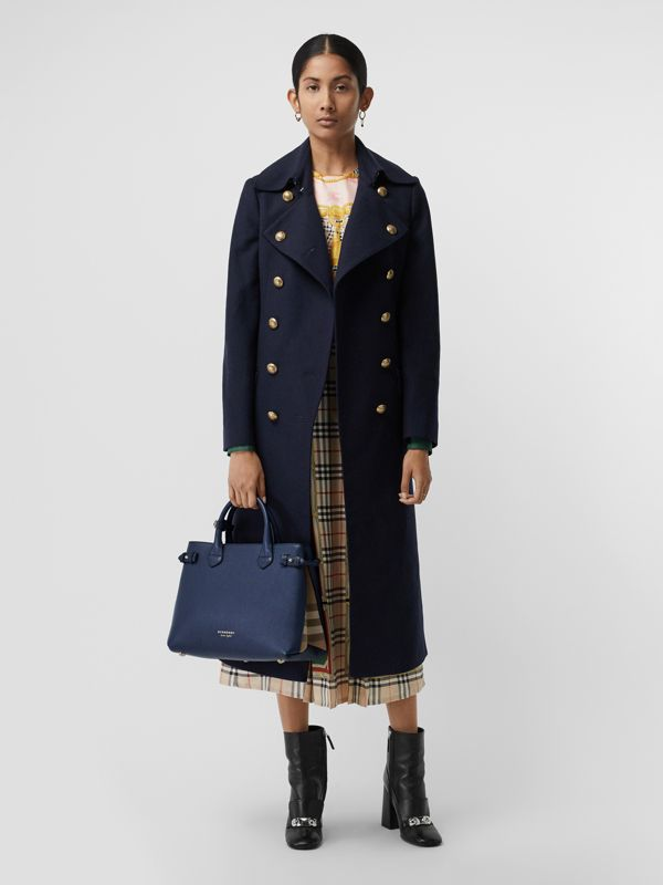 The Medium Banner in Leather and House Check in Ink Blue - Women | Burberry Singapore - cell image 2