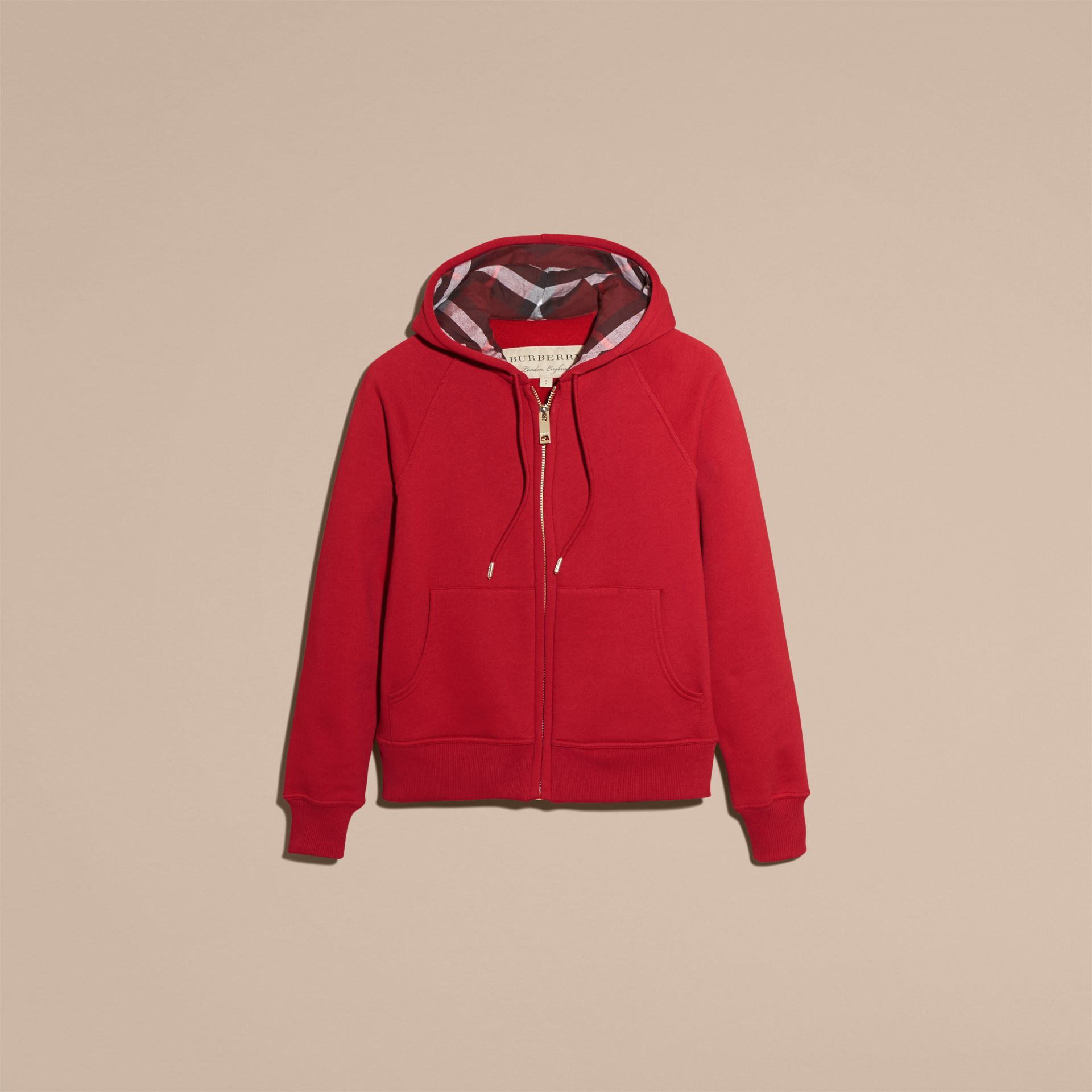 Hooded Zip-front Cotton Blend Sweatshirt in Parade Red - Women | Burberry - gallery image 4