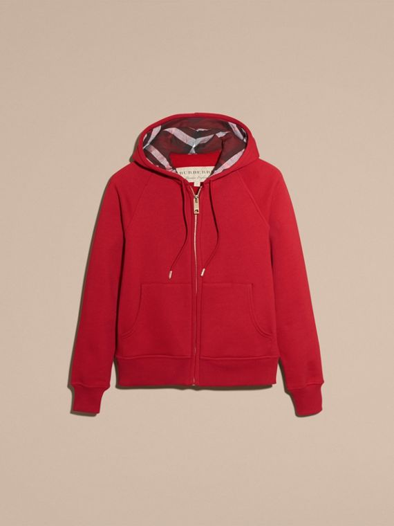 Hooded Zip-front Cotton Blend Sweatshirt in Parade Red - Women | Burberry - cell image 3
