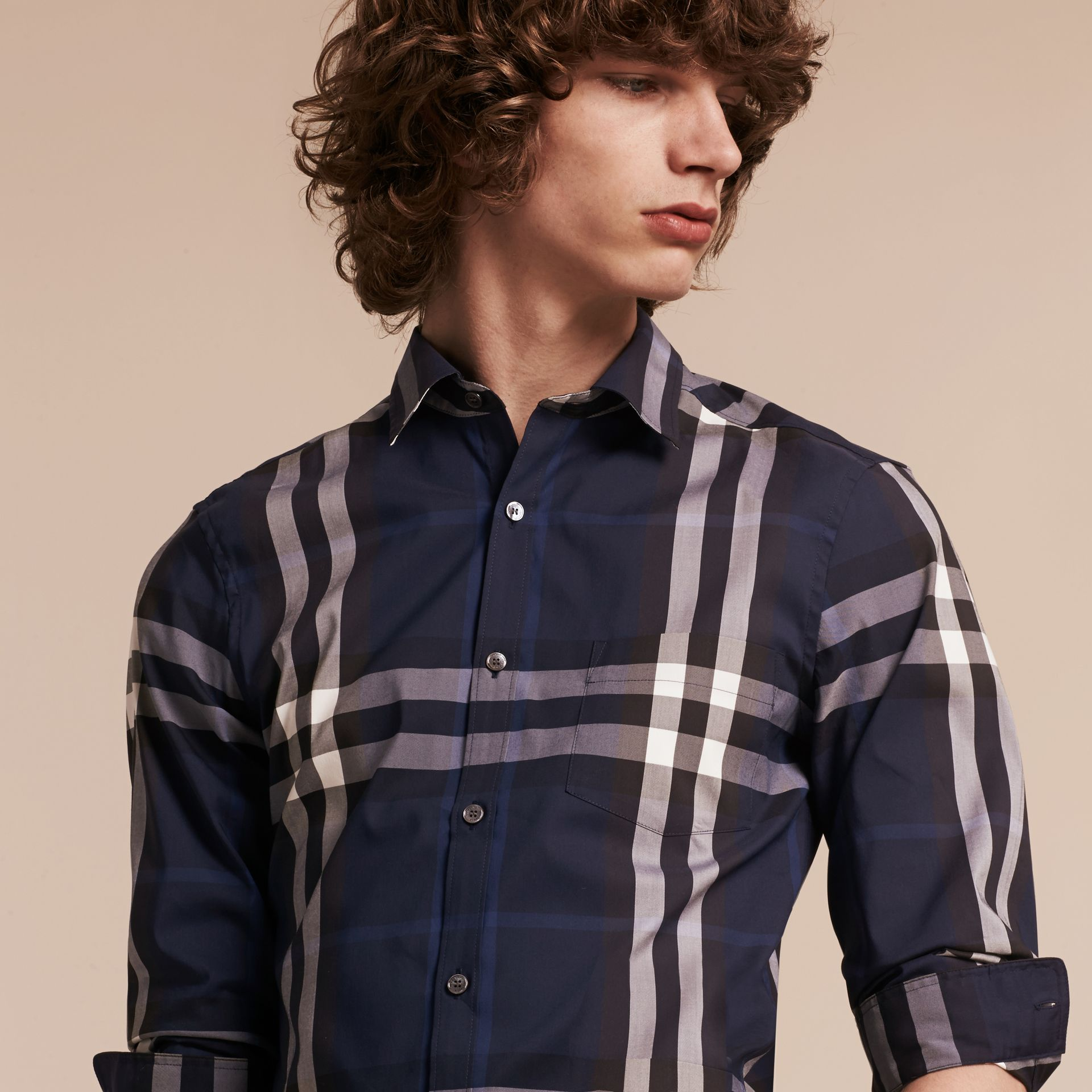 Check Stretch Cotton Shirt in Indigo Blue - gallery image 5