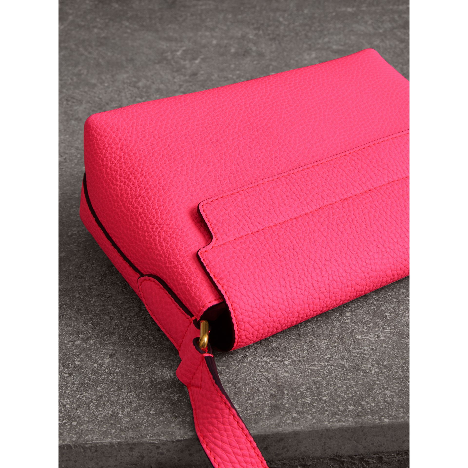 Small Embossed Neon Leather Messenger Bag in Pink - Women | Burberry United States - gallery image 2