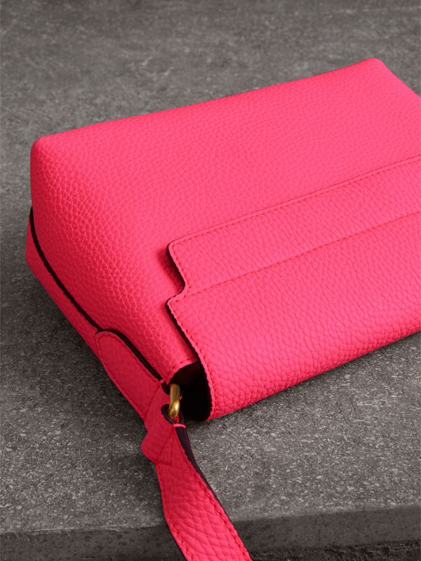 Small Embossed Neon Leather Messenger Bag in Pink - Women | Burberry - cell image 2