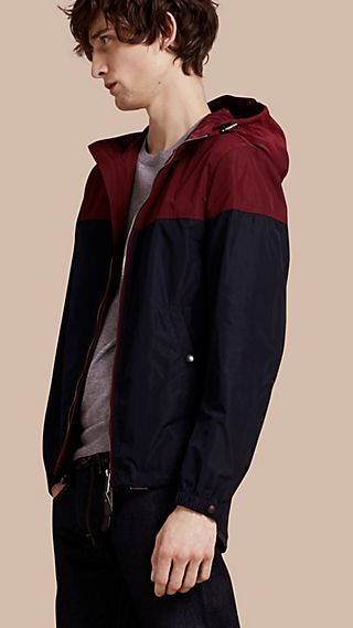 Colour Block Technical Blouson with Hood