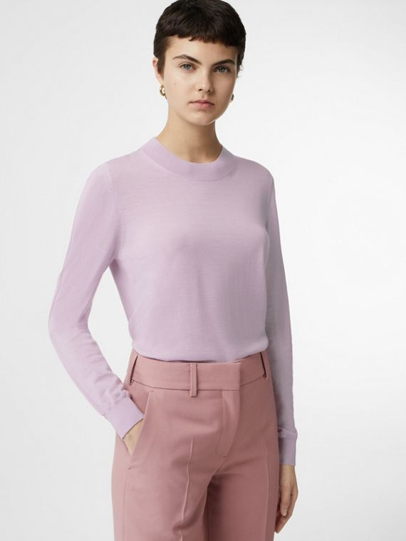 Logo Detail Merino Wool Sweater in Pale Heather