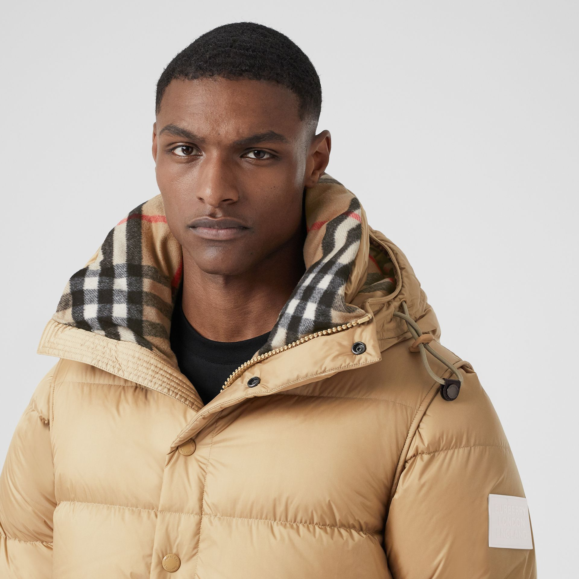 Detachable Sleeve Hooded Puffer Jacket in Honey - Men | Burberry - gallery image 1