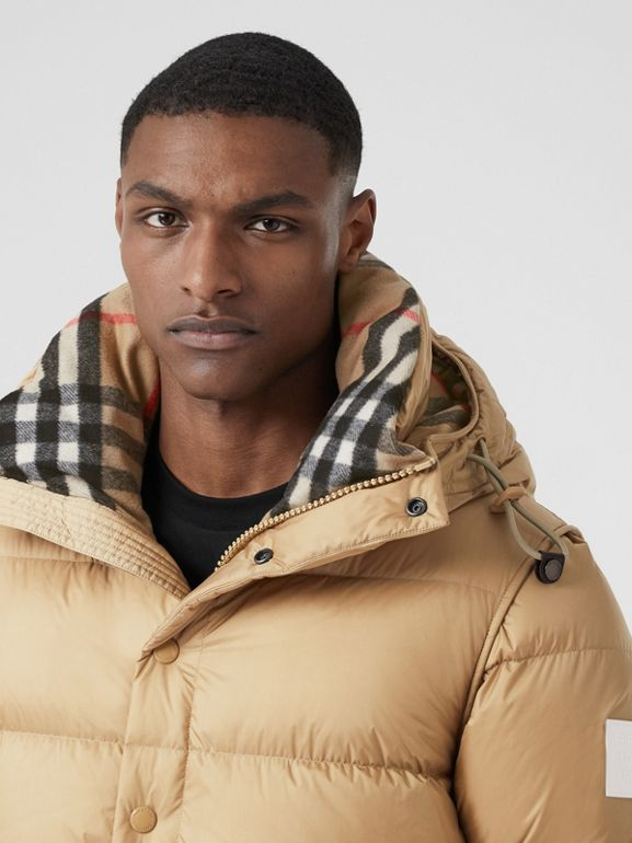 Detachable Sleeve Hooded Puffer Jacket in Honey - Men | Burberry - cell image 1