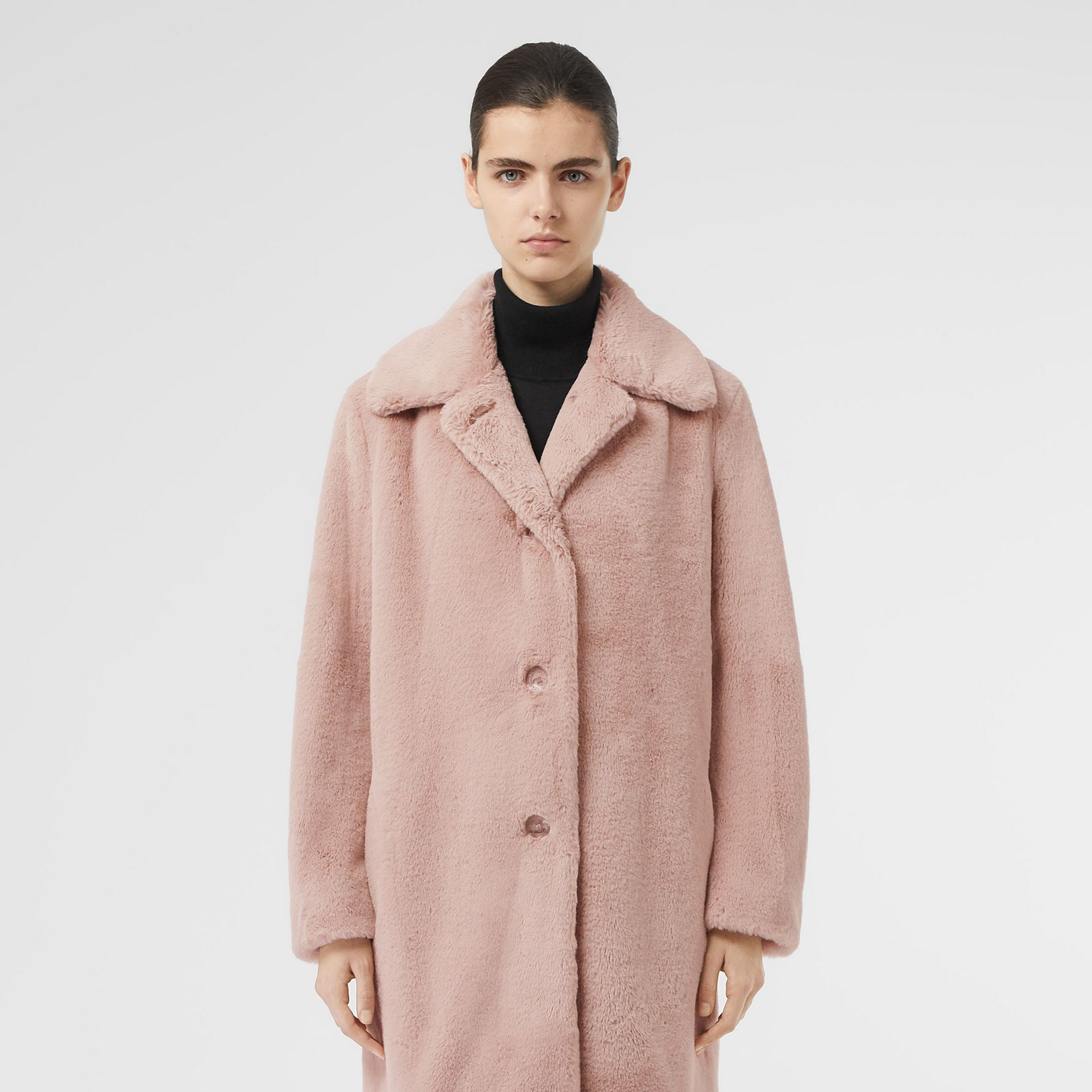 Faux Fur Single-breasted Coat in Pale Blush - Women | Burberry - gallery image 6