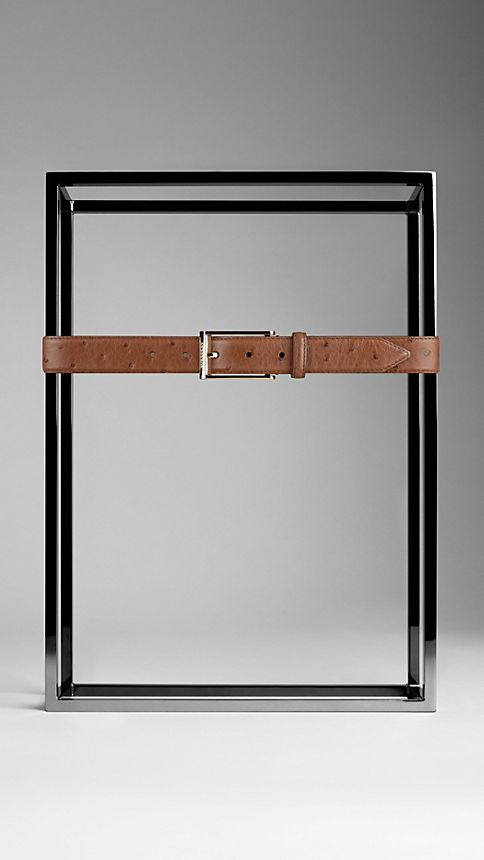 Brown ochre Ostrich Leather Belt - Image 2