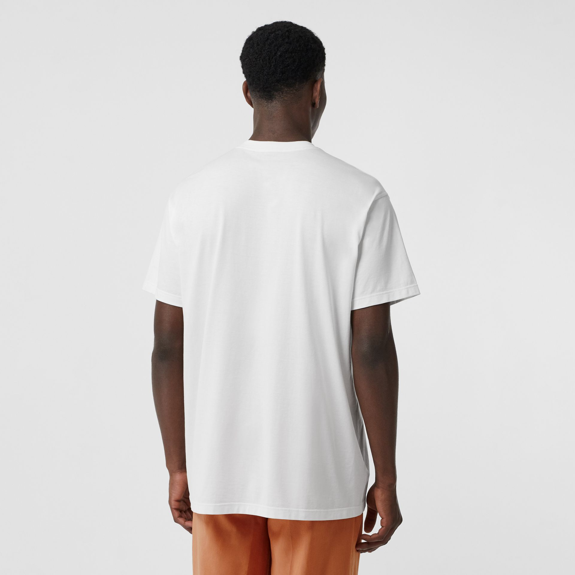 Logo Print Cotton Oversized T-shirt in Optic White | Burberry - gallery image 2