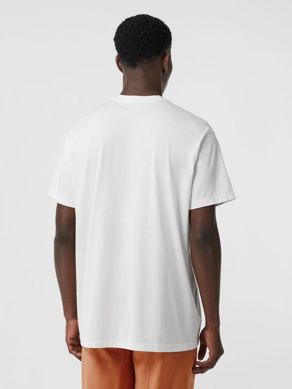 Logo Print Cotton Oversized T-shirt in Optic White | Burberry - cell image 2