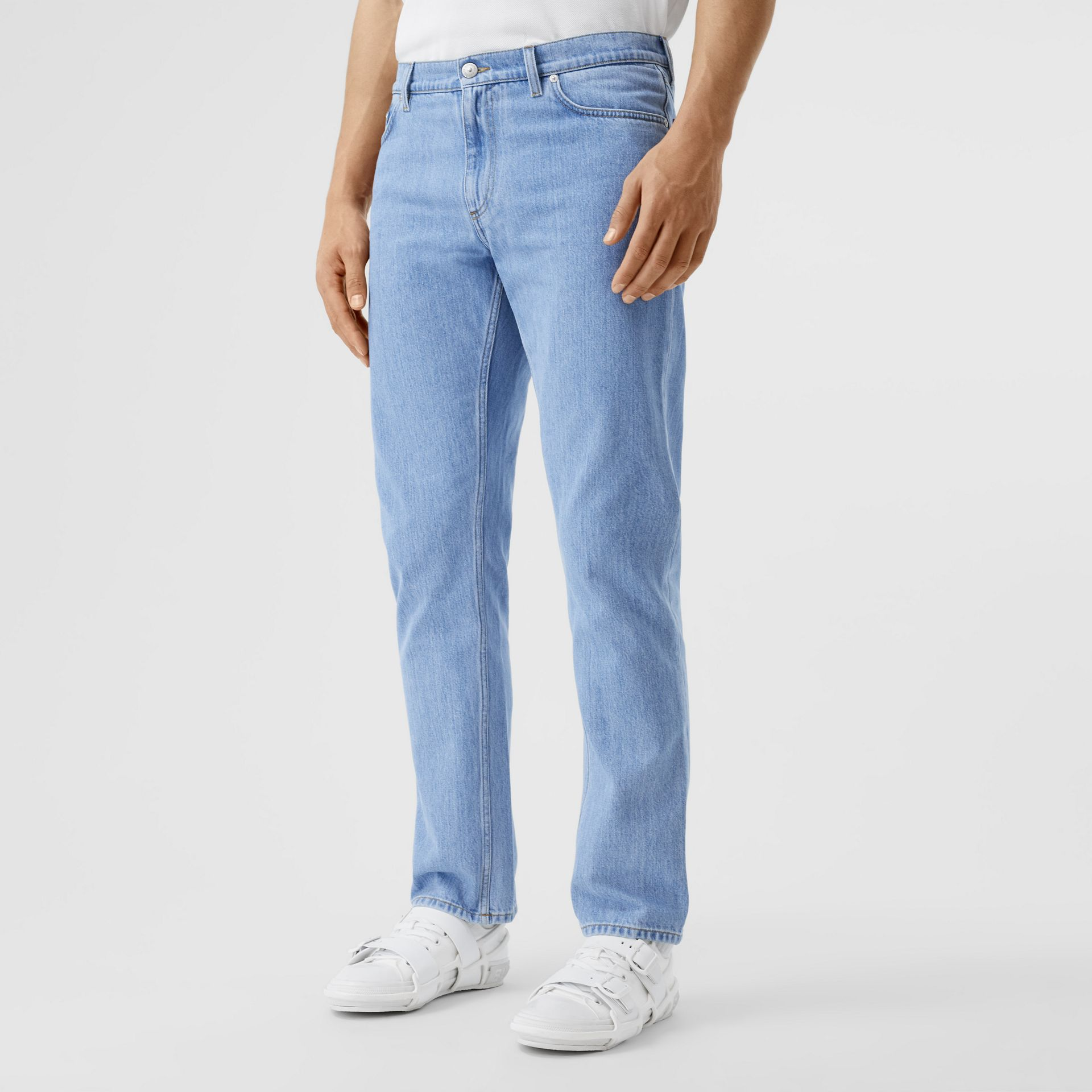 Straight Fit Japanese Denim Jeans in Light Indigo Blue - Men   Burberry - gallery image 4