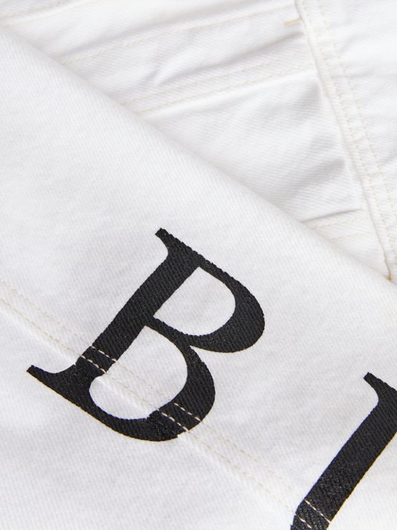 Logo Print Denim Jacket in Natural White | Burberry - cell image 1