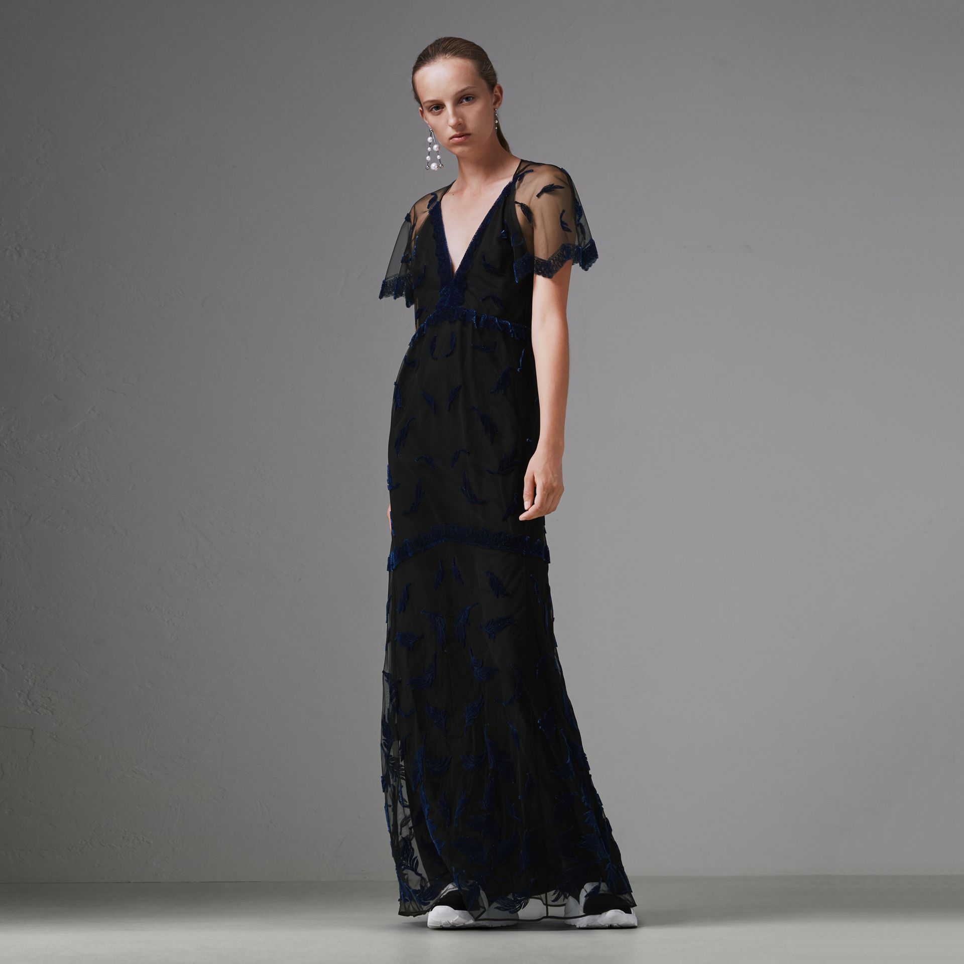 Velvet Leaf Cap-sleeve Gown in Black/blue - Women | Burberry Singapore - gallery image 4