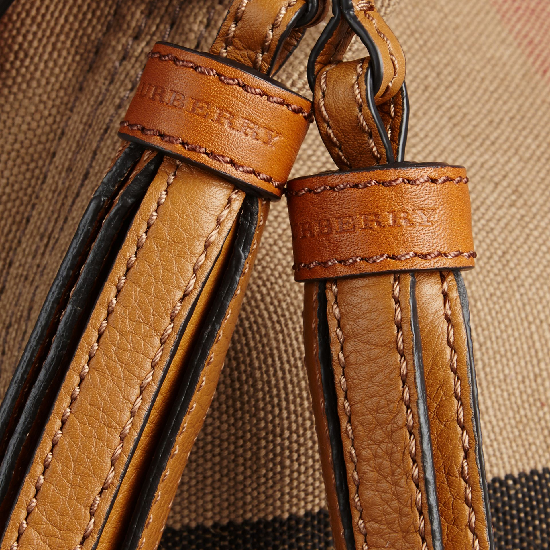 The Small Ashby in Canvas Check and Leather in Saddle Brown - gallery image 6