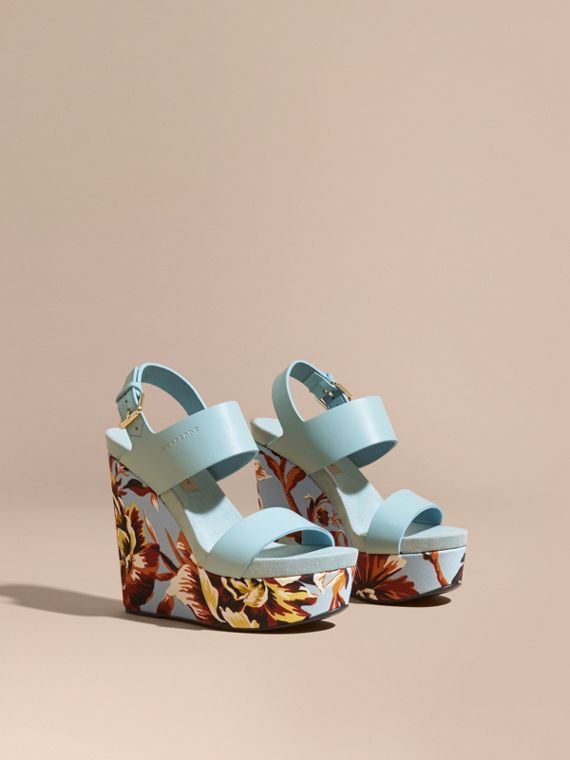 Peony Rose Print Leather Platform Wedges in Vibrant Orange - Women | Burberry