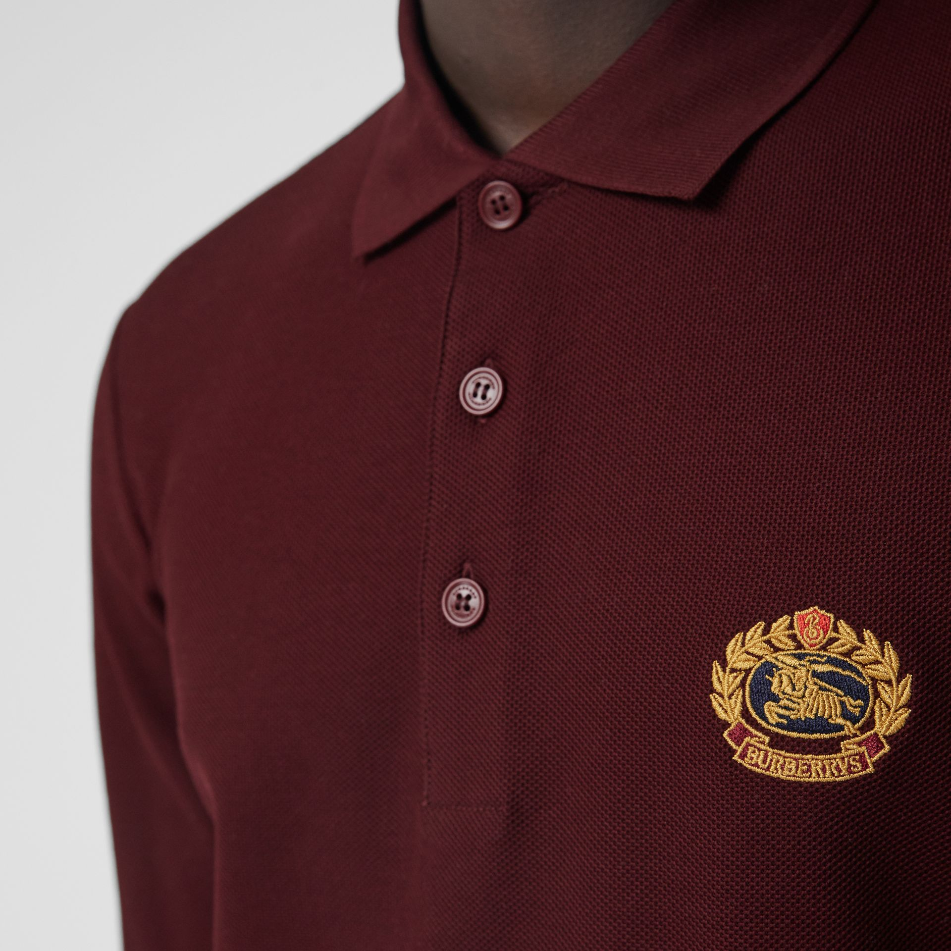 Long-sleeve Archive Logo Cotton Piqué Polo Shirt in Burgundy - Men | Burberry - gallery image 1