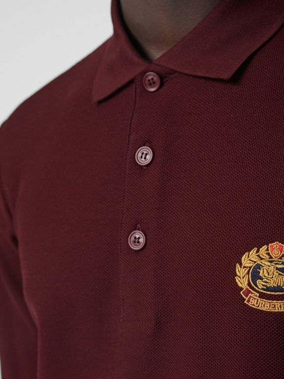 Long-sleeve Archive Logo Cotton Piqué Polo Shirt in Burgundy - Men | Burberry - cell image 1