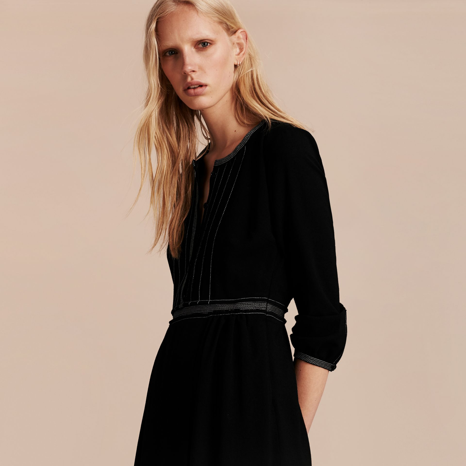 Black Topstitch Detail Wool Crepe Dress - gallery image 6