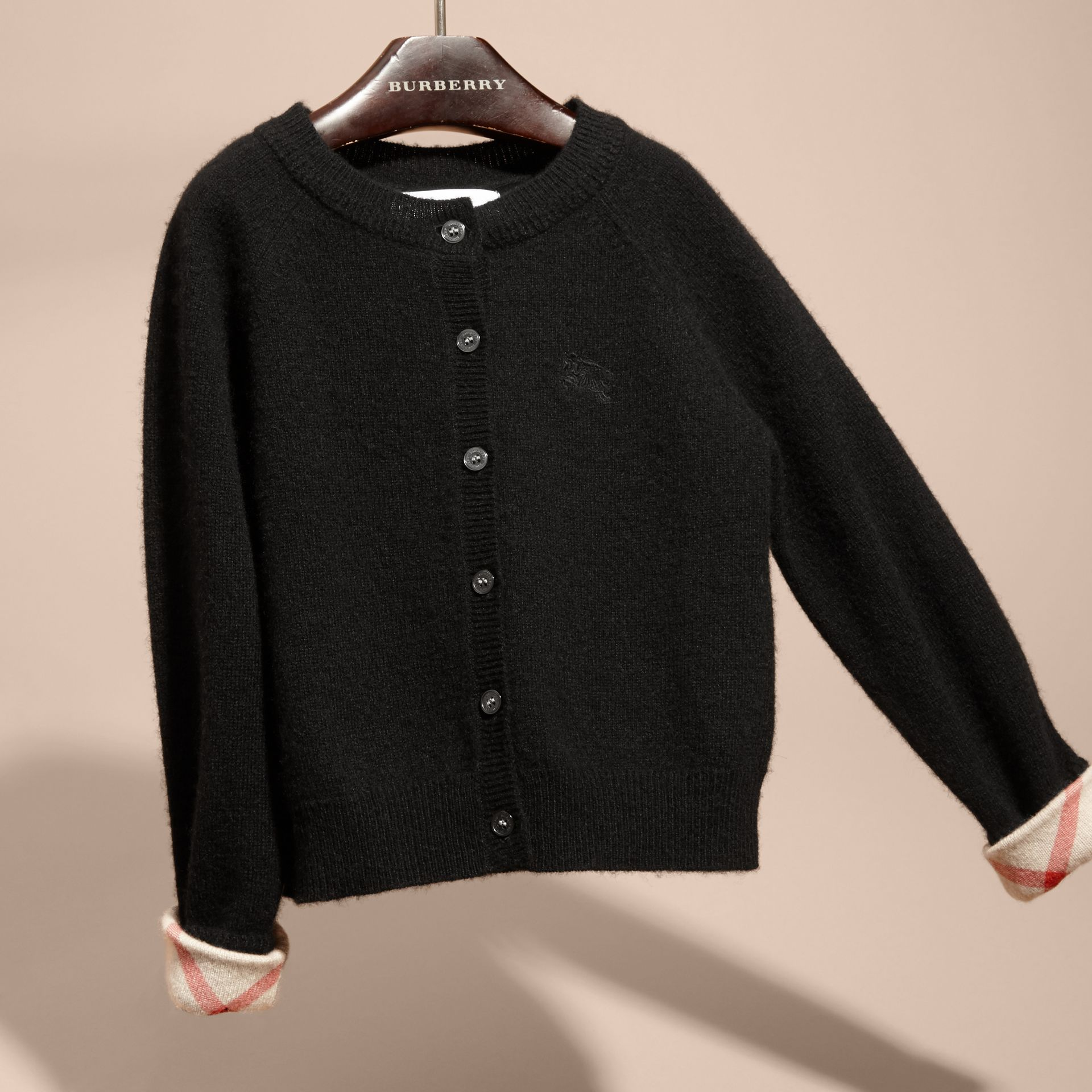Check Detail Cashmere Cardigan in Black - Girl | Burberry - gallery image 3