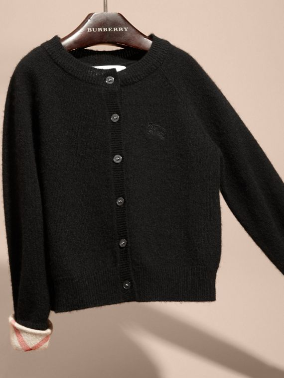 Check Detail Cashmere Cardigan in Black - Girl | Burberry Singapore - cell image 2