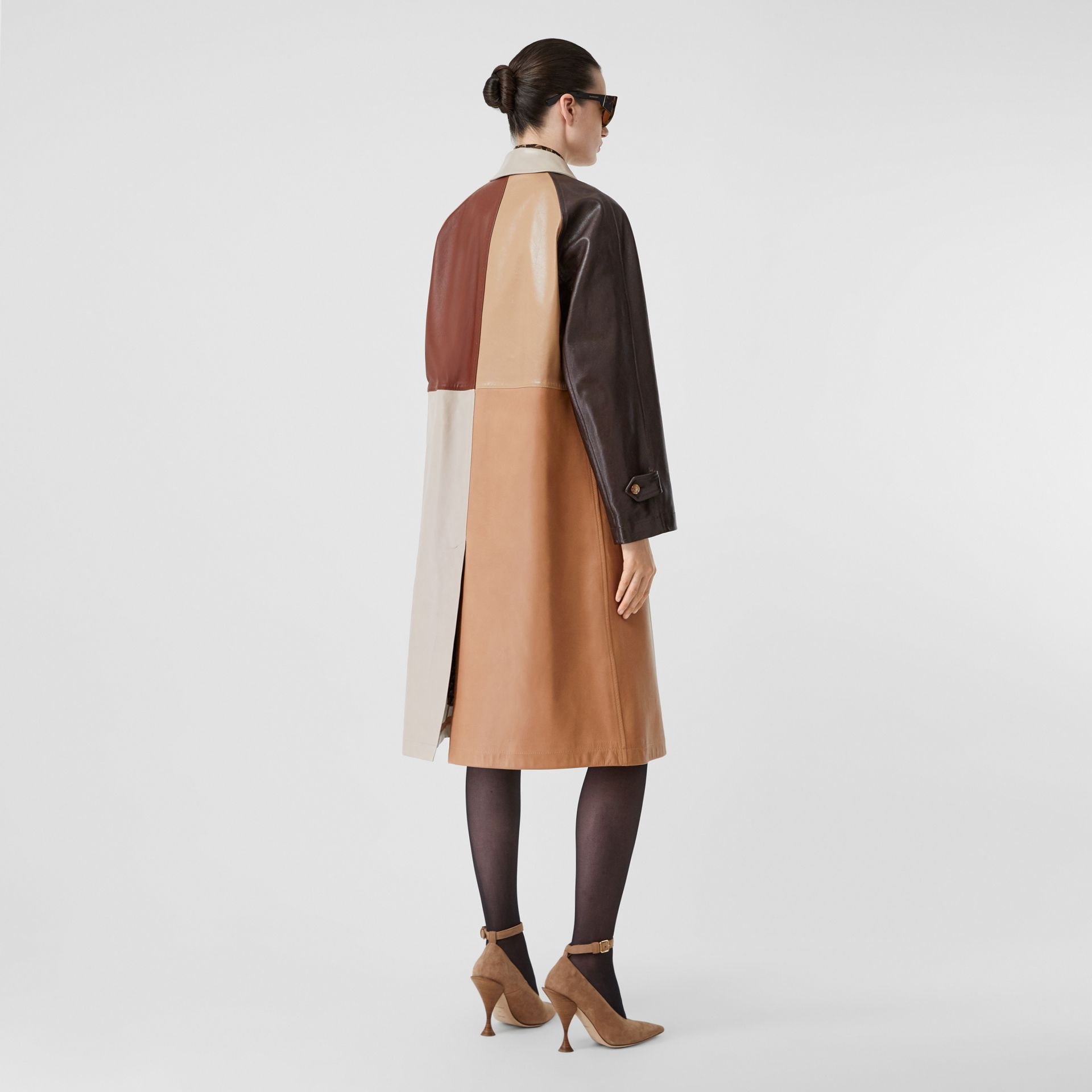 Patchwork Lambskin and Leather Car Coat in Biscuit - Women | Burberry - gallery image 2